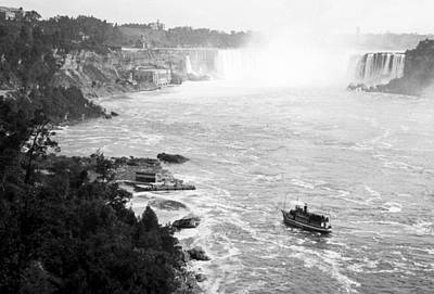 Poster featuring the photograph Niagara Falls With Sightseeing Boat 1904 Vintage Photograph by A Gurmankin