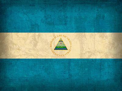 Nicaragua Flag Vintage Distressed Finish Poster by Design Turnpike
