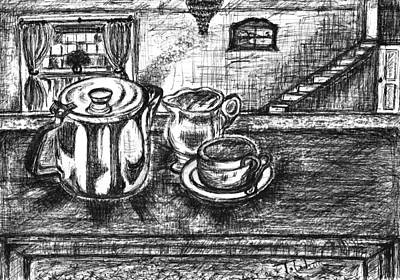 Poster featuring the drawing Nice Cup Of Tea by Teresa White