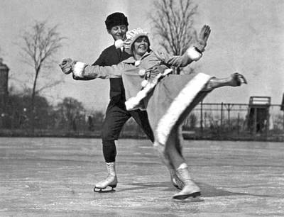 Nifty Moves On Ice Skates Poster by Underwood Archives
