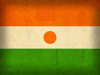 Niger Flag Vintage Distressed Finish Poster
