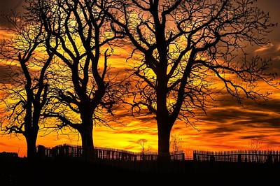 Night Approaches-1a Sunset At The Gettysburg Battlefield Poster
