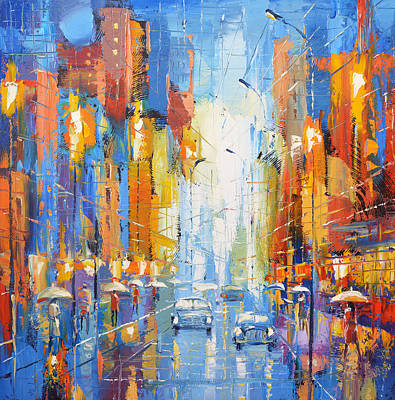 Poster featuring the painting Night Boulevard by Dmitry Spiros