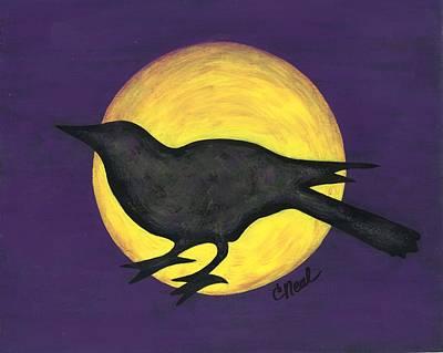 Night Crow On Purple Poster