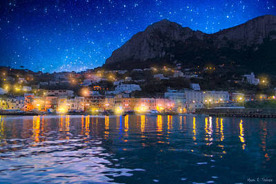 Night Falls On Beautiful Capri - Italy Poster by Mark E Tisdale