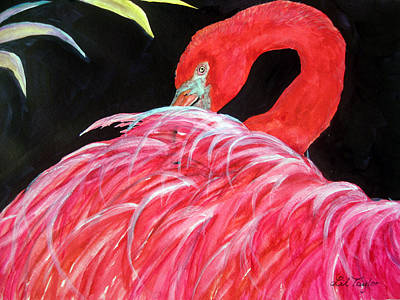 Poster featuring the painting Night Flamingo by Lil Taylor