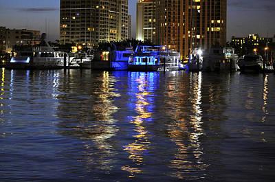 Night Harbor Sarasota Florida Poster by Sally Rockefeller