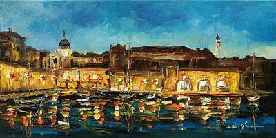 Night In Dubrovnik Harbour Poster