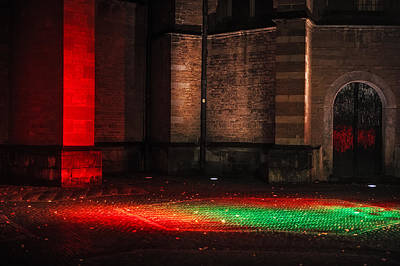 Night Lights In Utrecht. Trajectum Lumen Project. Pieterskerk. Netherlands  Poster by Jenny Rainbow