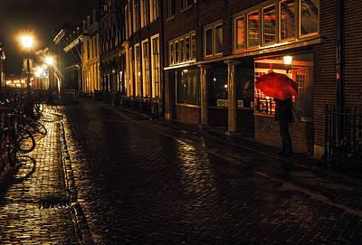 Night Lights Of Utrecht. Orange Umbrella. Netherlands Poster by Jenny Rainbow
