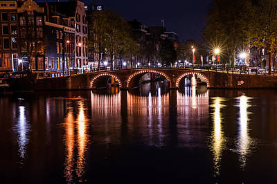 Night Lights On The Amsterdam Canals 4. Holland Poster