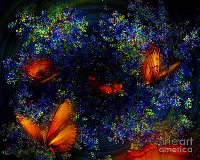 Poster featuring the digital art Night Of The Butterflies by Olga Hamilton