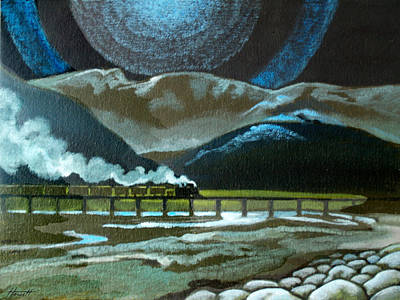 Night Passage - Ww480 Steam Poster by Patricia Howitt