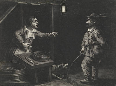 Night Scene Of A Fishmonger And A Man Urinating Poster by Jan Van Der Bruggen