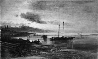 Night Scene On The Volga Poster by Alexei Kondratievich Savrasov