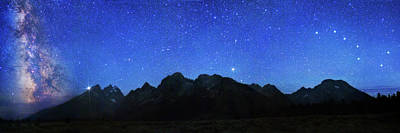 Night Sky Over Grand Teton National Park Poster by Walter Pacholka, Astropics