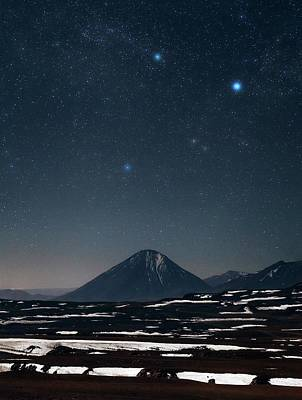 Night Sky Over The Licancabur Volcano Poster
