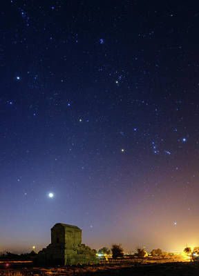 Night Sky Over Tomb Of Cyrus The Great Poster by Babak Tafreshi