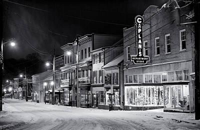 Night Snow Ellicott City Maryland Poster