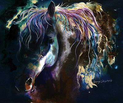 Poster featuring the painting Night Stallion by Sherry Shipley