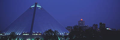Night The Pyramid And Skyline Memphis Poster by Panoramic Images