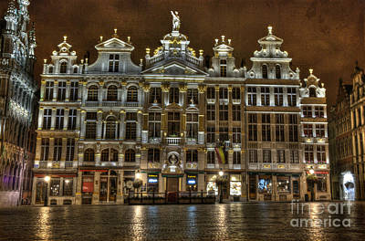 Night Time In Grand Place Poster by Juli Scalzi
