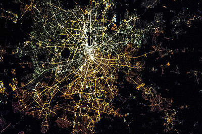 Night Time Satellite Image Of Berlin Poster