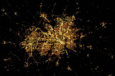 Night Time Satellite Image Of Dallas Poster