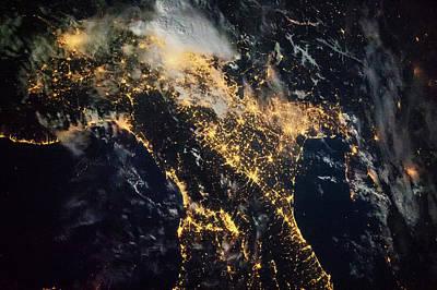 Night Time Satellite Image Of Genoa Poster