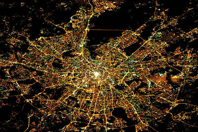 Night Time Satellite Image Of Moscow Poster