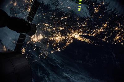 Night Time Satellite Image Of New York Poster