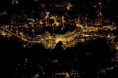 Night Time Satellite Image Of Seattle Poster