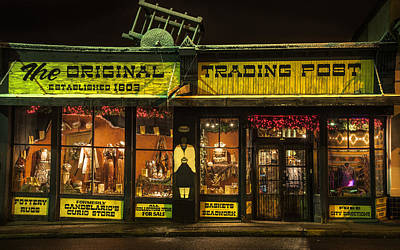 Night Time Trading Post In Santa Fe New Mexico Poster by Dave Dilli