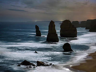 Night Time View Of The Twelve Apostles Poster