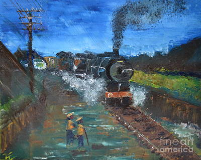Poster featuring the painting Night Train by Denise Tomasura