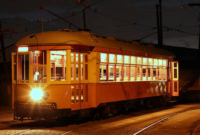 Poster featuring the photograph Night Trolley by Jim Poulos