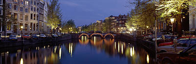 Night View Along Canal Amsterdam The Poster by Panoramic Images