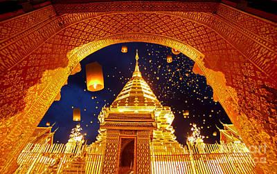 Night View Doi Suthep Chiang Mai Thailand Poster by Phaitoon Sutunyawatcahi