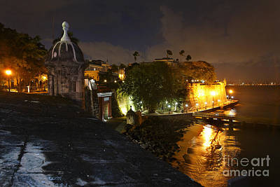 Night View Of Old San Juan Poster by George Oze