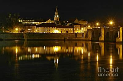 Night View Of The River Tweed At Berwick Poster