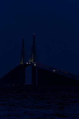 Nightfall At The Sunshine Skyway Poster by Ed Gleichman