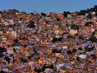 Nightfall In The Favela Da Rocinha Poster by Adelino Alves