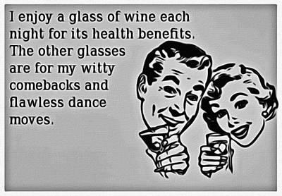 Nightly Glass Of Wine Poster by Florian Rodarte