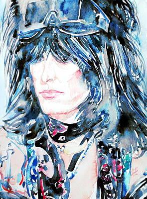 Nikki Sixx Watercolor Portrait Poster by Fabrizio Cassetta