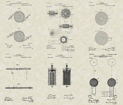 Nikola Tesla Inventor Patent Collection Poster by PatentsAsArt