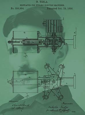 Nikola Tesla Patent Poster by Dan Sproul