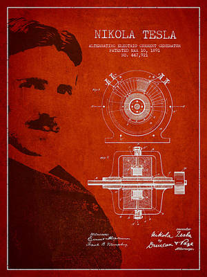 Nikola Tesla Patent From 1891 Poster by Aged Pixel
