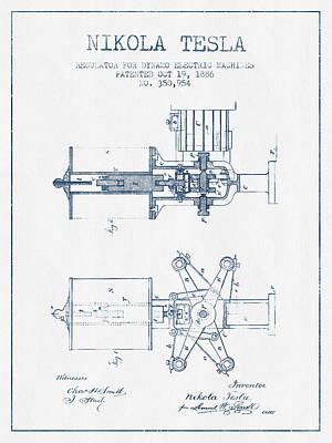 Nikola Tesla Regulator Patent Drawing From 1886- Blue Ink Poster by Aged Pixel