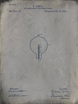 Nikola Tesla's Incandescent Electric Light Patent 1894 - Grunge Poster