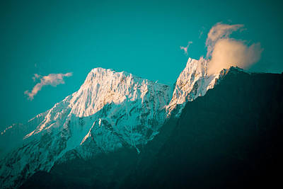Nilgiri Mountain In Himalayas With Cloud Poster by Raimond Klavins